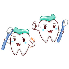 Cartoon Illustration of tooth holding toothbrush.