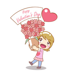 Girl is holding bouquet of flowers in Cartoon Character for Valentine's day.
