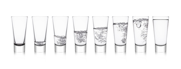 Elegant glasses with healthy still clear water