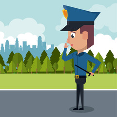 Policeman at the city cartoon icon vector illustration graphic