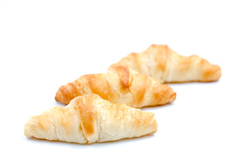 Simple Fluffy Crescent Roll on a Isolated White Background