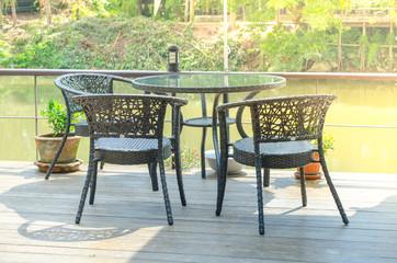 Desk and chair near the river at Chanthaburi, Thailand