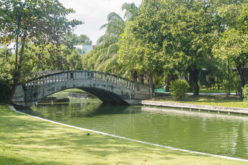 View of a beautiful bridge in the park