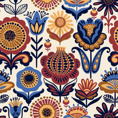 Folk floral seamless pattern.