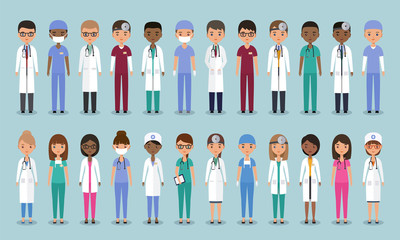 Doctors, nurses and surgeons characters. Animated medical people. Flat avatars. Vector. Set icons isolated on blue background. Healthcare professional. Hospital staff. Medicine concept.