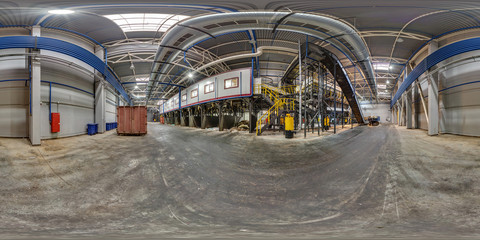 360 panorama view in modern waste hazardous recycling plant and storage. Full 360 by 180 degrees panorama in equirectangular spherical projection, skybox VR content