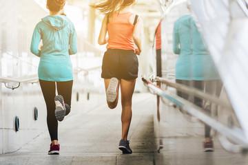 Women running in the morning.