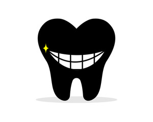 smiling black tooth teeth dent dental dentist image icon