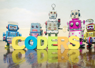 a team of robit toy coders on an old wooden floor