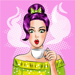 Vector pop art girl with cup of hot coffee