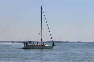 Sailing boat in the Adriatic Sea near Venice, Italy