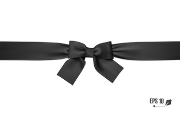 Realistic black bow and ribbon. Element for decoration gifts, greetings, holidays. Vector illustration.