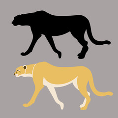 cheetah  black silhouette vector illustration flat style profile
