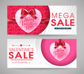 Valentines Day Mega Sale Banners Set with Hearts and Ribbons for Promotional Purposes. Vector Illustration.