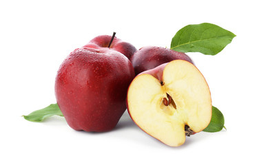 Ripe red apples on white background