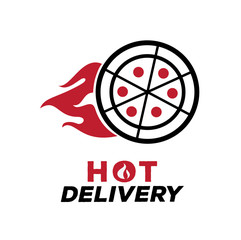hot delivery pizza logo with fire