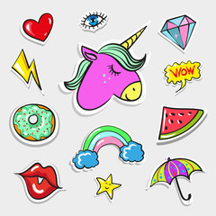 Vector pop art fashion quirky and cute badges, patches