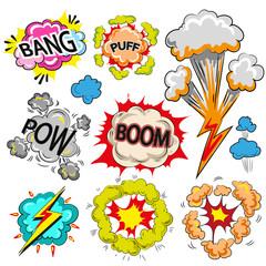 Vector pop art comic modern speech bubble set