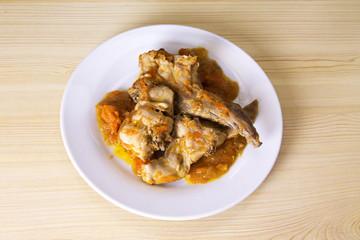 dish with rabbit stew
