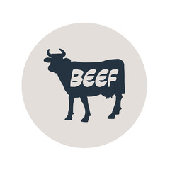 Icono plano BEEF en vaca en circulo gris