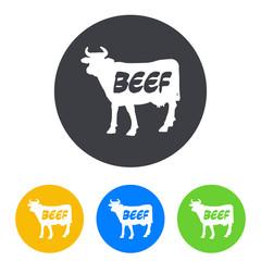 Icono plano BEEF en vaca en circulo varios colores