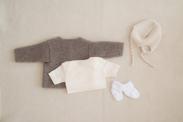 newborn baby clothes - studio shot from above