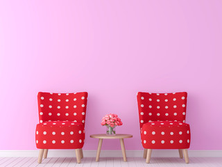 valentine theme living room 3d rendering image.There are minimalist style image ,pink empty wall and red furniture