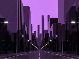 Violet city 3d rendering image.Street View in city with street lights ,Graphic style image monochrome with violet tone