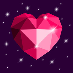 Origami heart. Red color, with stars