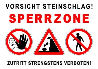 ks284 Kombi-Schild - ezs2 ExclusionZoneSign ezs - Gefahrenzeichen: Vorsicht Steinschlag! - Sperrzone - Fußgänger / Zutritt strengstens verboten - Plakat - DIN A1 A2 A3 A4 Poster xxl g5818