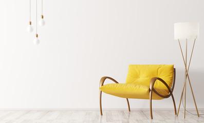 Interior with armchair and floor lamp 3d rendering Fototapete