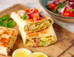 Tortilla with chicken and avocado