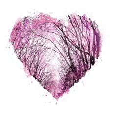 Abstract hand drawn. Watercolor heart. Valentine background. Love heart design. Photo collage with graphic silhouettes of trees