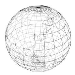 Globe contour. Vector rendering of 3d