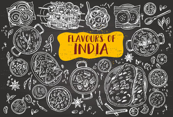 Indian food flyer design on a blackboard. Linear graphic. Vector illustration. Engraved style.