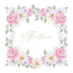 Greeting card with bouquet flowers for wedding, Valentine's day, birthday and other holidays. Vector floral frame.