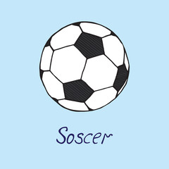 Soccer ball, hand drawn doodle sketch with inscription, isolated vector color illustration on blue background