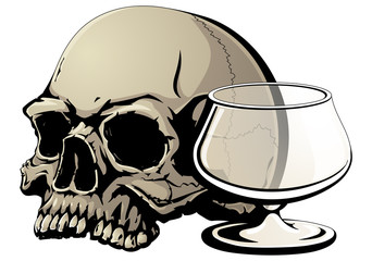 Death from alcohol. A human skull and an empty glass. The symbol of the fight against alcoholism.