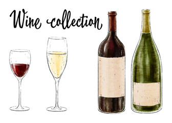Two bottles of wine with two glasses isolated on white background. Wine collection. Vector illustration.