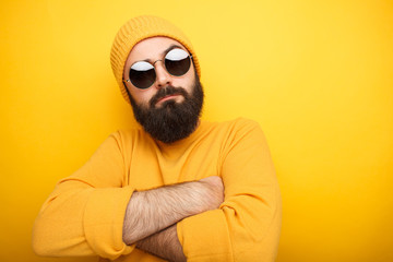 Cool bearded man in sunglasses