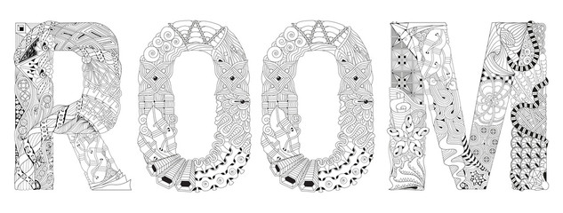 Word ROOM for coloring. Vector decorative zentangle object