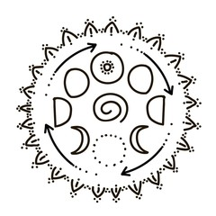 Vector illustration of feminine and all seeing symbol and sacred geometry