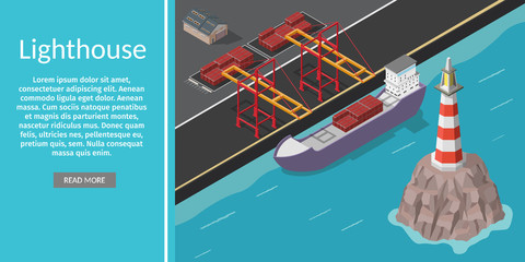 Isometric vector port ship loading logistic concept