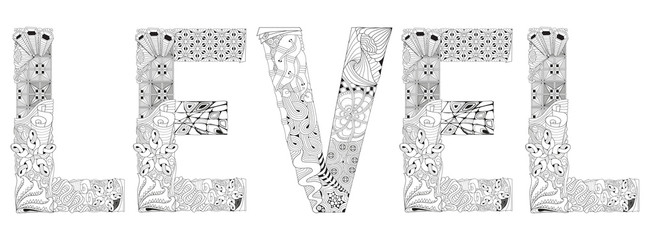 Word LEVEL for coloring. Vector decorative zentangle object