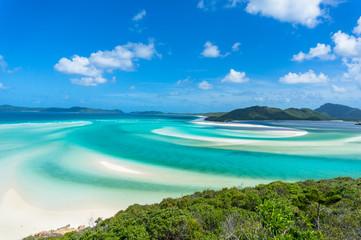 Beautiful tropical lagoon with sandy beach aerial landscape