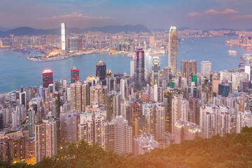 City business downtown of Hong Kong view from the Peak, cityscape background