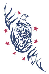 Adler Tribal mit Sternen, eagle tattoo.
