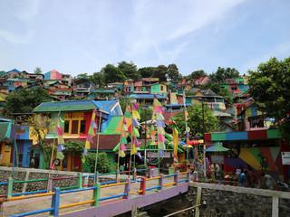The colourful or 'rainbow' village (Kampung Pelangi) in Semarang, Central Java, Indonesia