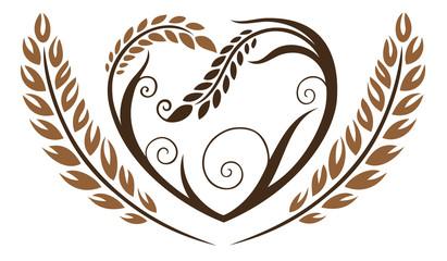 Erntedank. Herz mit Getreide, Ähren, Bäcker, Bäckerei