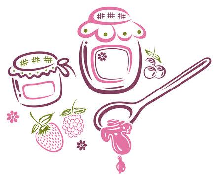 Marmelade, Marmeladengläser, Sommer und Früchte.